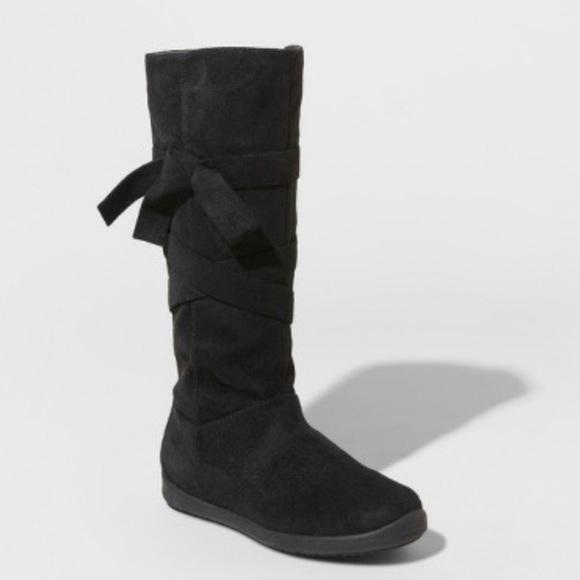Cat /& Jack Girls/' Nicole Zipper Black Winter Snow Boots Size 13 zip up new